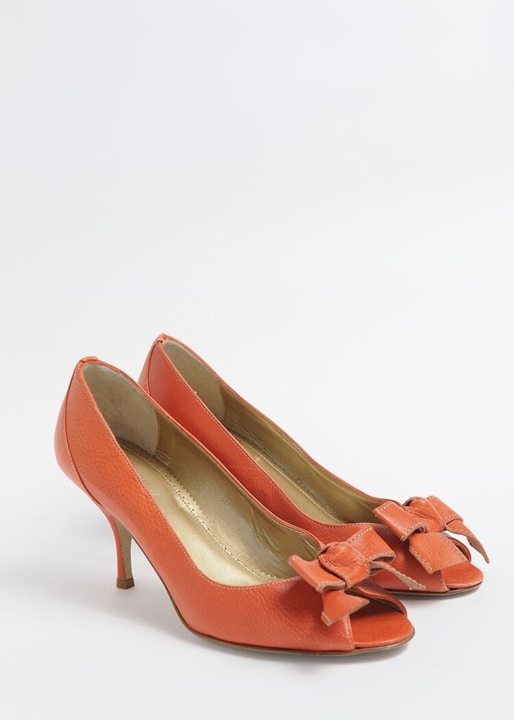 J.Crew leather peep toe Taille 7 Beautiful soft texturouge leather in burnt Orange