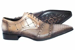 c361f197953e Details about Jo Ghost 2855 M Italian mens light br. lace up shoes with  peforations and metal