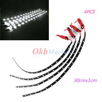 4x Led Lamp String Waterproof Flexible Cuttable Car Strip Light 30x1cm 12v White
