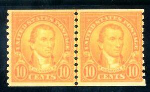 USAstamps Unused FVF US 1923 Rotary Coil Monroe Line Pair Scott 603 OG MNH