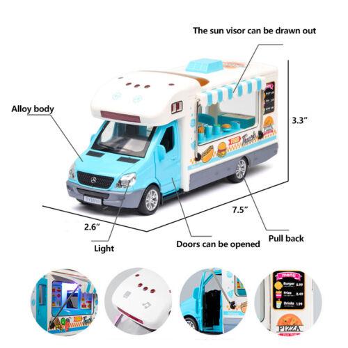 1:32 Hamburger Pizza Fast Food Truck Model Diecast Gift Toy Vehicle Kids Blue