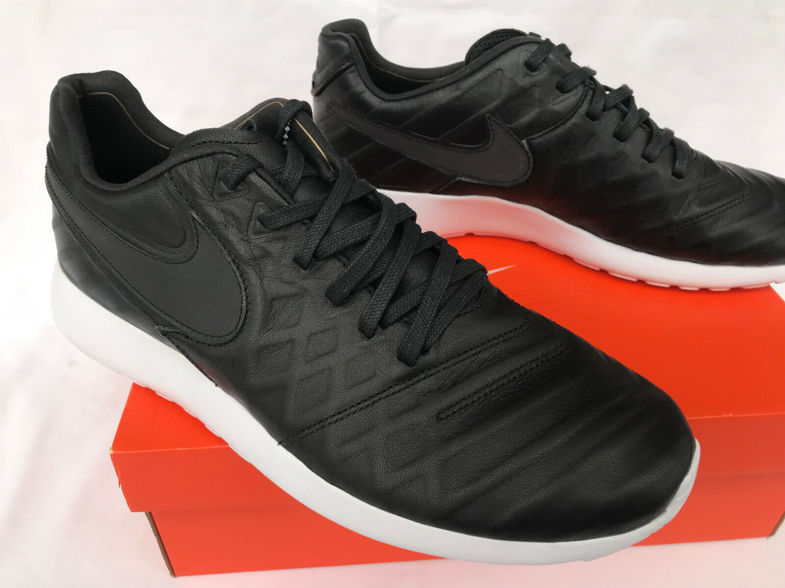 530c982105d3 ... Nike Roshe Tiempo VI VI VI QS 853535-007 Black Leather Futbol Soccer shoes  Men s ...