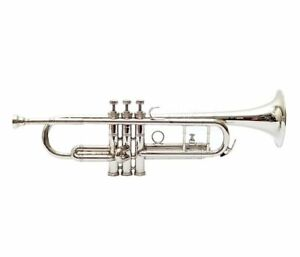 Silver-Bb-Trumpet-With-Free-Hard-Case-Mouthpiece