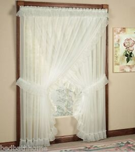Image Is Loading NEW Jessica Sheer Ruffled Priscilla Curtain Panel Pair