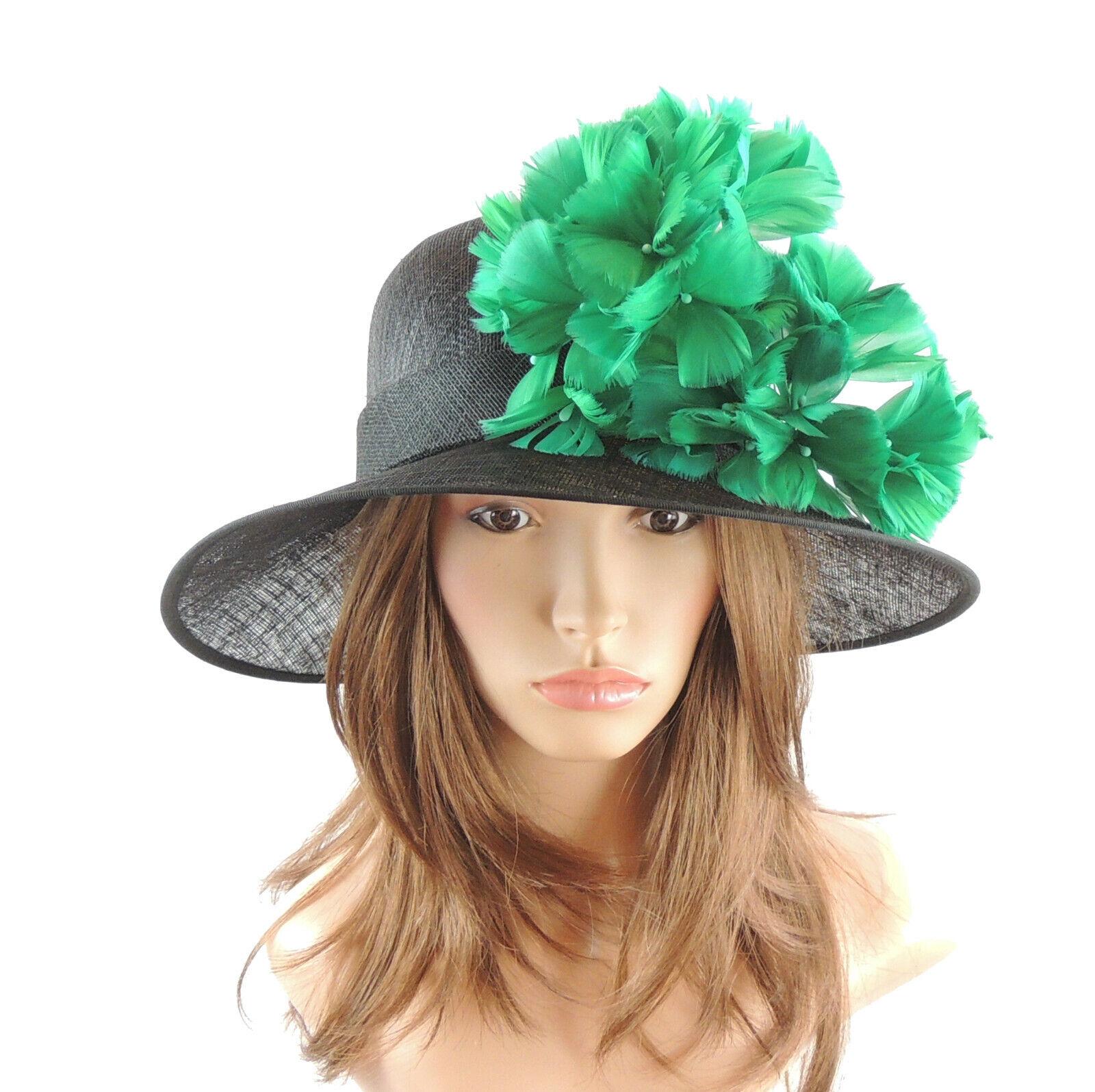 Black & Jade Green Ascot Hat for Weddings, Ascot, Melbourne Cup HA