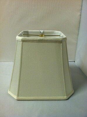 "12"" Off-White Square Cutcorner Lampshade Shantung Silk Lamp Shade Cream Fabric"