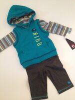 Quicksilver Baby Boy Hoodie Vest Jacket Pants Bodysuit Size 3 6 9 12 Months Grey