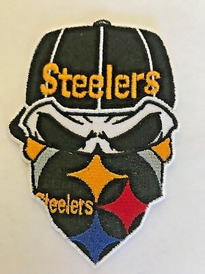 Pittsburgh Sew Iron Nfl On Jersey Steelers Heinz Hat Ebay Patch Skull Jacket Bandit