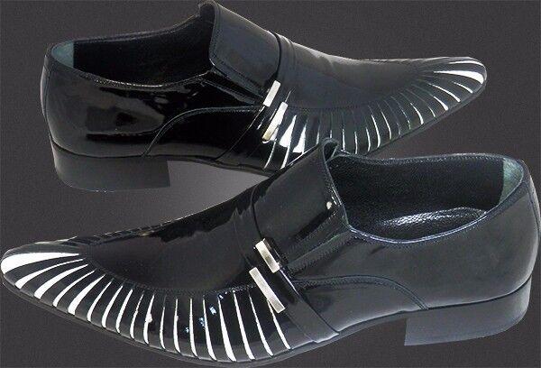 1000 Chelsy - Italienischer Italienischer Italienischer Designer Slipper Haifisch Kiemen schwarz Kalbsleder 6556fc