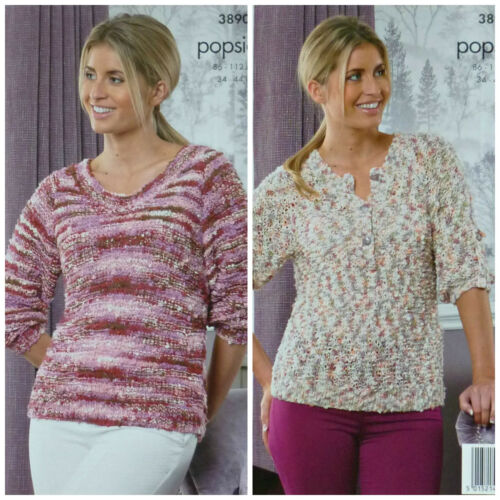 Knitting Pattern femmes col rond//Bouton Col Pull Popsicle King Cole 3890