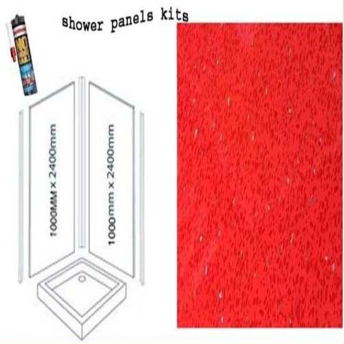 rouge SPARKLE douche panneaux muraux Kits 2X1M X 2400X 10 mm épais