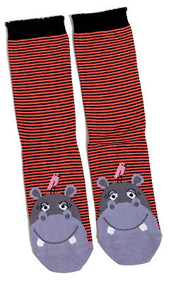 LADIES HIPPO HIPPOPOTAMUS SOCKS UK SIZE 4-8 EUR37-42 US 6-10