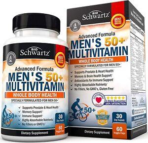 BoiSchwartz Multivitamin for Men 50 plus Supplement Heart Health 60 Veggie Caps