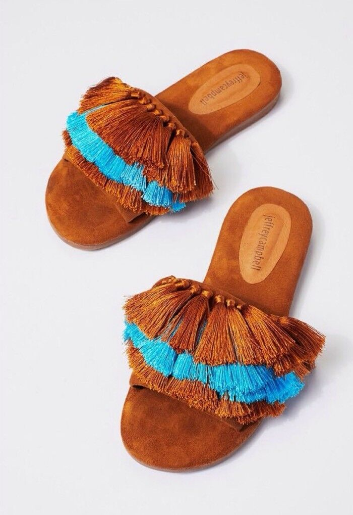Free People Jeffrey Campbell Watercolor Tassel Sandals Slides Flats 6.5  110.00