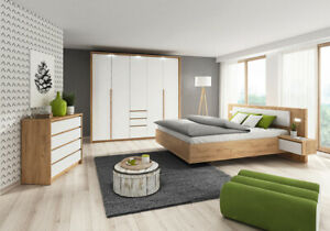 Details zu Schlafzimmer Komplett Bett Kommode Schrank Weiß Holzoptik  Schlafzimmerset 13