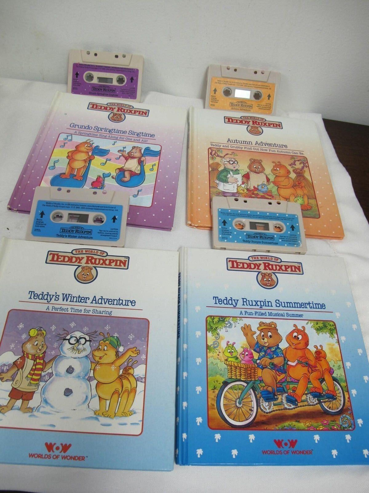 TEDDY RUXPIN BOOKS TAPES SEASONS SUMMERTIME WINTER AUTUMN SPRINGTIME SINGTIME