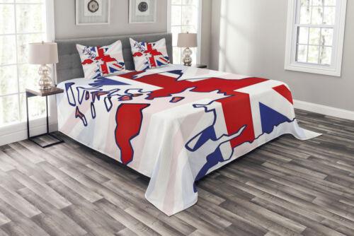 Union Jack Tagesdecke und Kissenbezüge Set Country Map Flag Druck