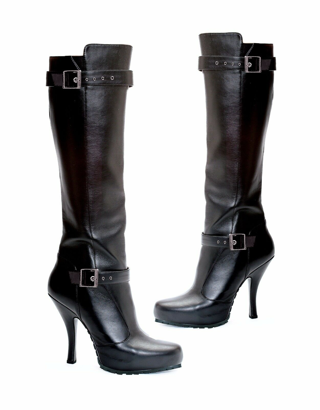 Black Knee High Boots Buckle Detail 1/2
