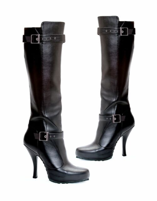 "Black Knee High Boots Buckle Detail 1/2"" Platform 4.5"" Heels 423-Anarchy 9M NIB"