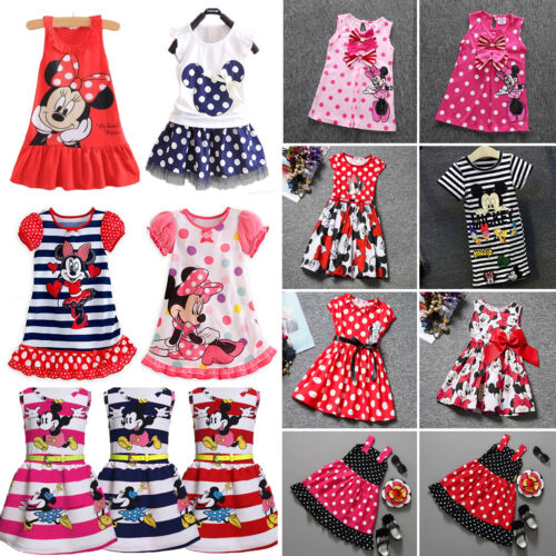 Kids Baby Girls Cartoon Minnie Mouse Party Dress Skirts Skater Clothes Tops 0-7Y