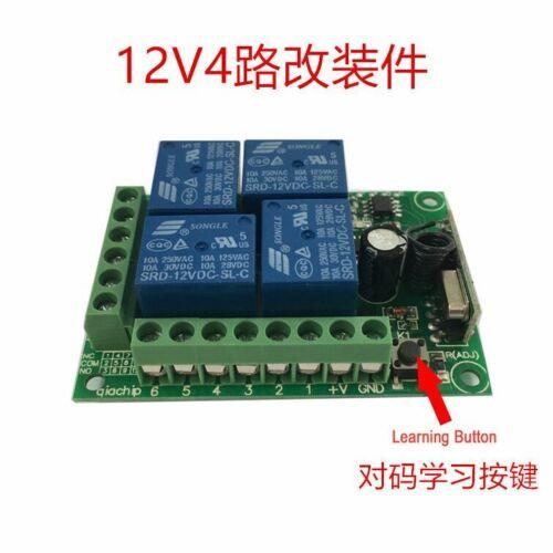 433Mhz Wireless Fernbedienung Schalter DC 12 V 4 CH RF Relais Empfänger Modul