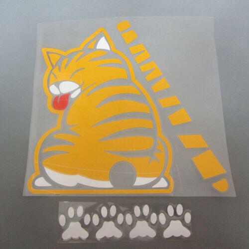Yellow Cat With Wagging Tail Car Auto Rear Window Windshield Wiper Sticker Decal