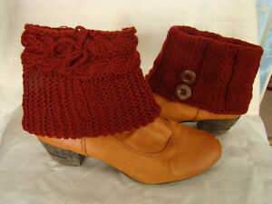 Warm-Winter-Wool-Burgundy-Red-Boot-Cuffs-Legwarmers-Crafted-Birthday-Gift-Her