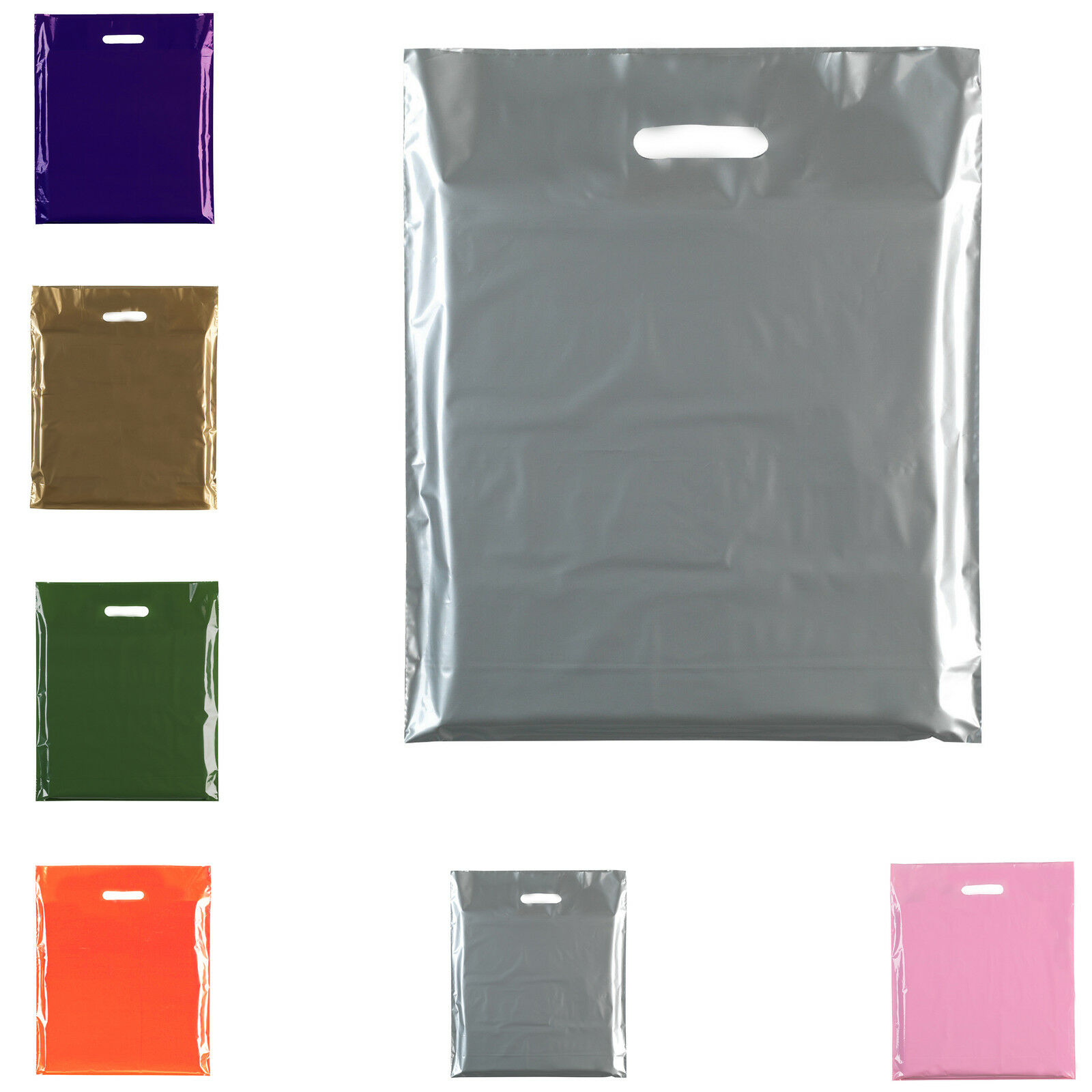 """3/"""" 400 Strong White Patch Handle Carrier Gift Retail Market Bags  15/"""" x 18/"""""""