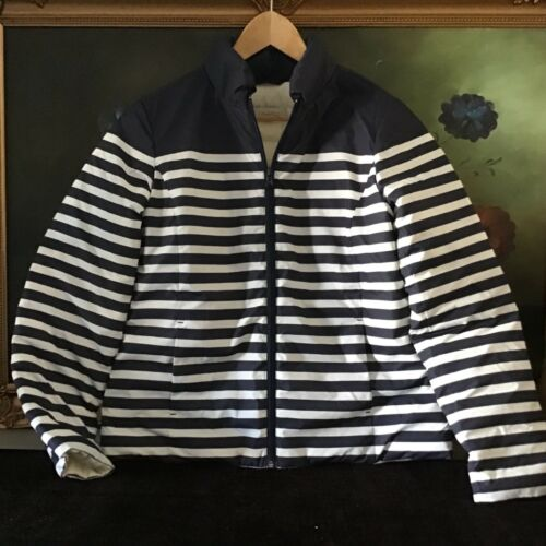 Talbots Kvinder Puffer Jacket L Stripe Blå Størrelse Hvid Nwt Down Frakke 41wxT1