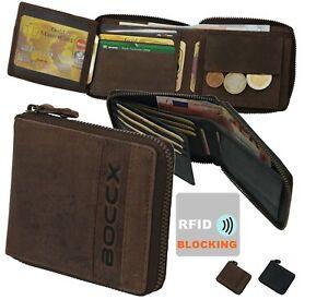 3b53890ab1604 Das Bild wird geladen BOCCX-RFID-Blocker-Herrenboerse-Reissverschluss -Geldboerse-Leder-Geldbeutel-
