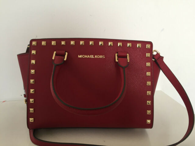 Michael Kors Selma Stud Medium Tz Top Zip Satchel Crossbody Cherry 30t3gsms2l