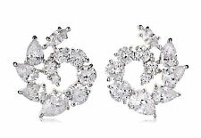 NWT CZ by Kenneth Jay Lane 10 Cttw Swirl Stud DAZZLING PROM Red Carpet Earrings