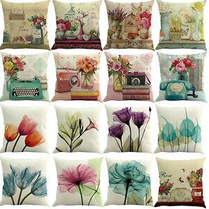 Watercolor-Cushion-Cover-Pillow-Case-Cotton-Flax-Retro-Sofa-Home-Decor-45-x-45cm