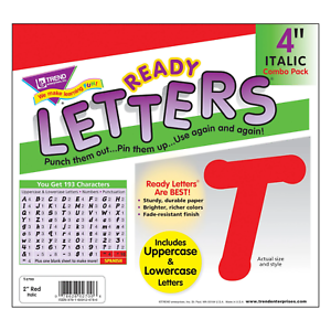 Red 4-Inch Italic Upper/Lowercase Letters - Classroom Displays, Notice Boards
