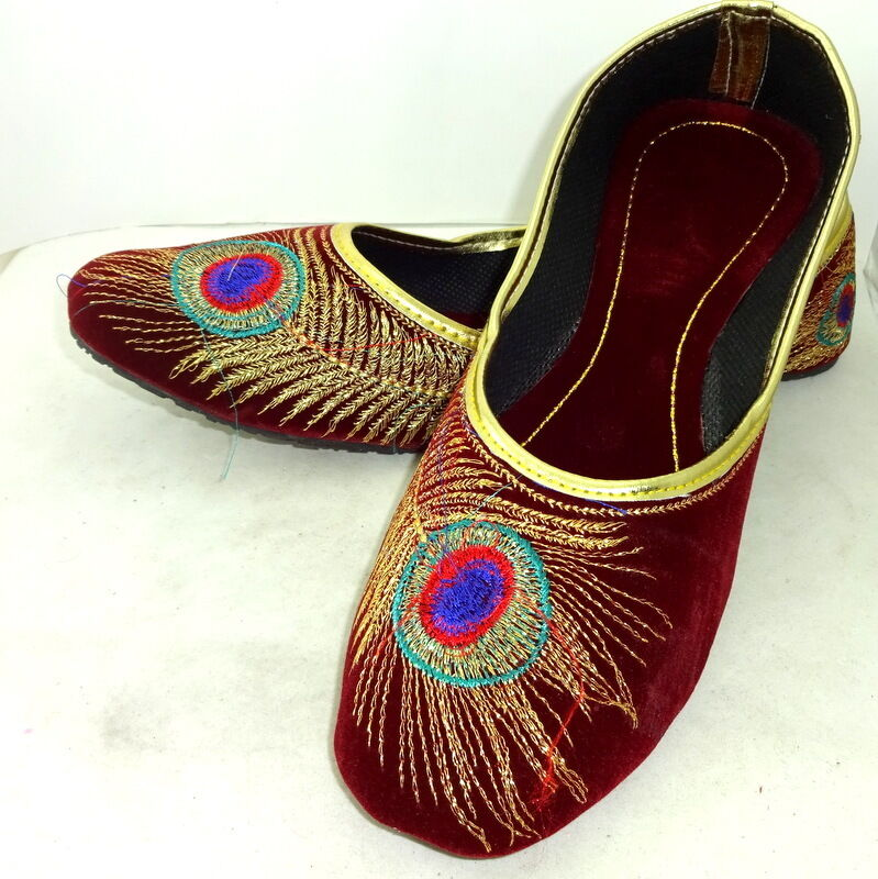 Women Red Peacock Traditional Sandle Multi Punjabi Mojari shoes US Handmade Jutti