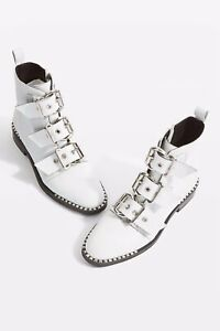 TopShop White Leather Alfie Ankle