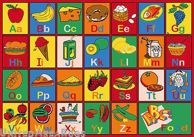 3x5 Educational Rug Kids Abc Food Names School Learning