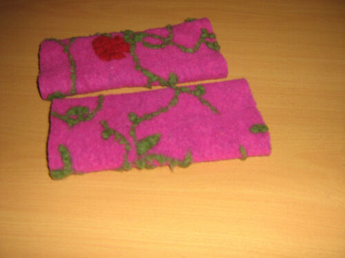 Walk-Wolle/_Armstulpen Pulswärmer pink-rot-grün  by Zonel Mode