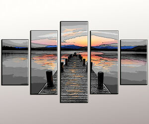 QUADRO-moderno-OLD-BRIDGE-TRAMONTO-QUADRO-MODERNO-abstract-painting-pintura