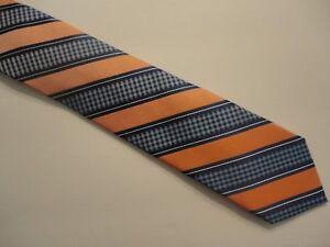 Zenio Tall Skinny Tie Navy & Salmon, Orange Men's 100% Microfiber Stripe