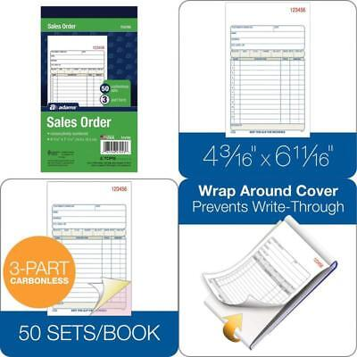 4-3//16 x 7 3//16 Three-Part Carbonless Carbonless Sales Order Book 50 Sheets