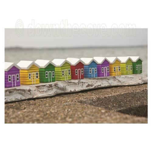 Fast Tracked Post! Great Gift Seaside Ornament Row of 10 Wooden Beach Huts