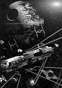 Intelligente Star Wars Death Star Grand Poster Art Imprimé Noir & Blanc Toile Ou Carte-afficher Le Titre D'origine