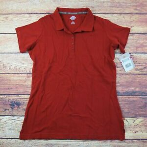 Large-Dickies-Red-Work-Shirt-Polo-Short-Sleeve-Women-039-s