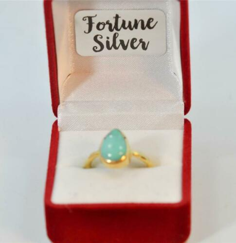 NATURAL TURQUOISE DECEMBER  BIRTHSTONE 18K GOLD PLATED SILVER LADIES RING #MF502
