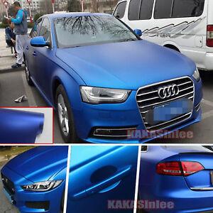 50FT-x-5FT-Whole-Car-Wrap-Metallic-Satin-Matte-Chrome-Vinyl-Sticker-Blue-CF