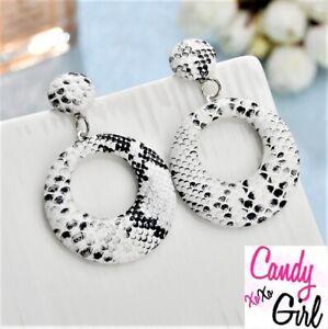 Gorgeous White Big Hoop Animal Print Leather Look Drop Dangle Fashion Earrings