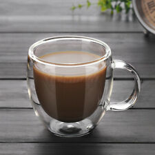 200ml Clear Heat Resistant Glass Double Wall Creative Cow Milk Cup Mug w// Handle