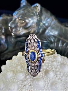 18k Sapphire Diamond Ring Peacock Blue Feather Art Deco Antique 1.78ctw