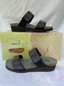 NAOT BIANCA  36 Black Nubuk Leather Cork footbed comfort $70
